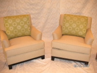 Corded Lounge Chairs with Custom Green Sunburst Pillow Cushions