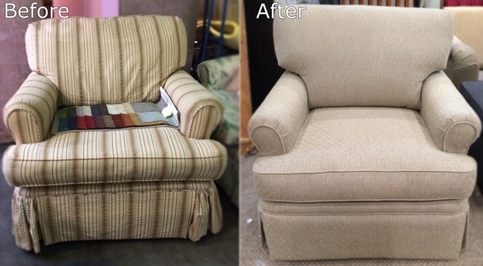 Before and After Rolled Arm Chair
