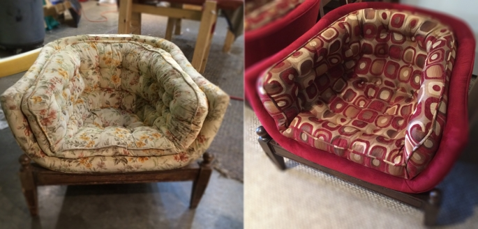 Before and After Mid Century Barrel Chair