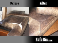Before and After: Leather sofa cushions reupholstery