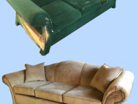 Before and After Rolled Arm Sofa in Caramel