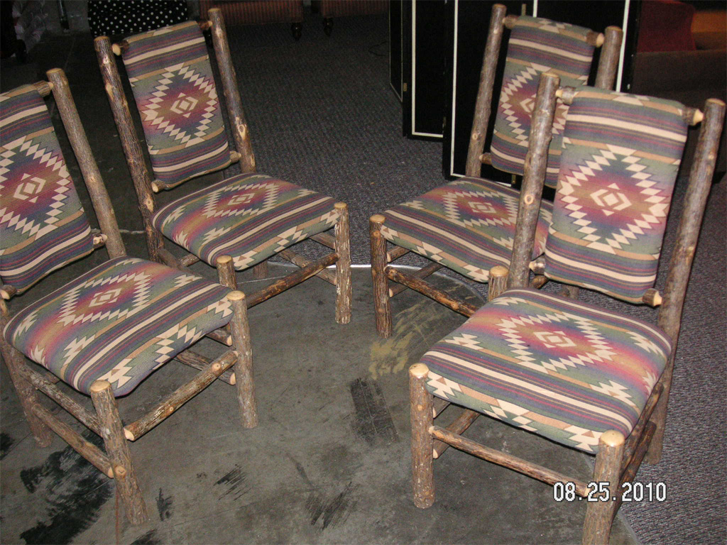 Knotted Pine Dining Chairs with Southwestern Pattern
