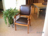 Wood Chair with Leather Seat and Back